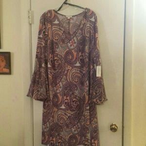 Plus Size Paisley  Flounce Sleeve Dress Size 2X